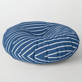 Navy and White Handdrawn Stripes Floor Pillow