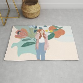 Woman Walking in a Forest  Rug