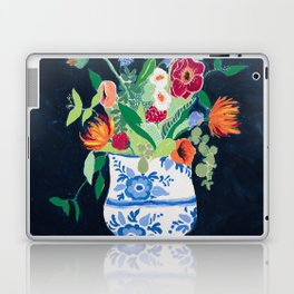 Bouquet of Flowers in Blue and White Urn on Navy Laptop & iPad Skin