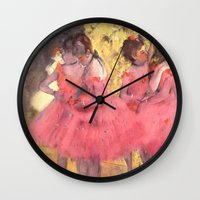 degas Wall Clocks featuring The Pink Dancers Before the Ballet by PureVintageLove