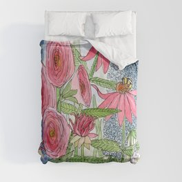 Summer Flowers Watercolor  Comforters