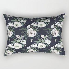 Blush pink white green black watercolor modern floral Rectangular Pillow