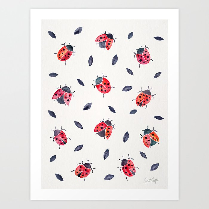 Lucky Ladybugs & Black Leaves Art Print
