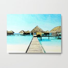 Watercolor Maldives Bungalow Metal Print