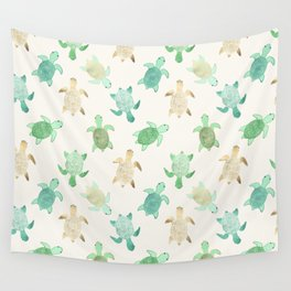 Gilded Jade & Mint Turtles Wall Tapestry