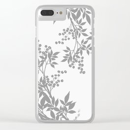 LEAF TOILE GRAY AND WHITE PATTERN Clear iPhone Case