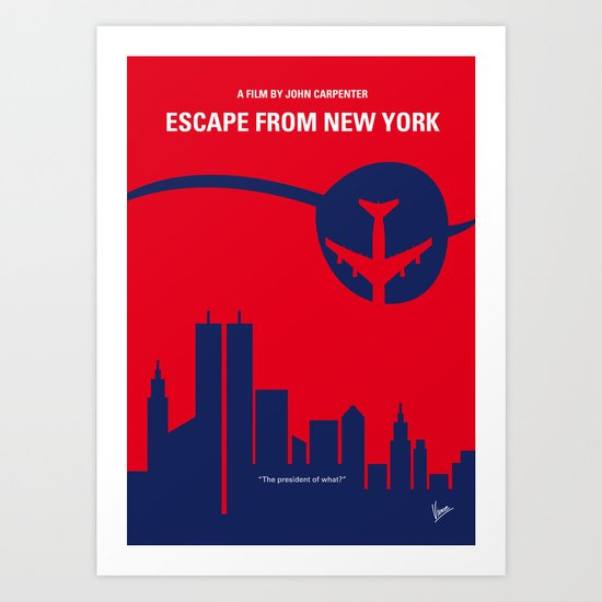 No219 My Escape from New York minimal movie poster Art Print