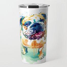 Watercolor Bulldog Travel Mug