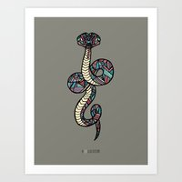 anaconda Art Prints featuring Anaconda by schillustration