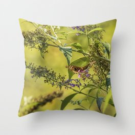 Great Spangled Fritillary on a Butterfly Bush Throw Pillow