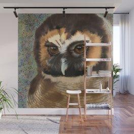 Brown Wood Owl  Wall Mural