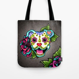 Smiling Pit Bull in White - Day of the Dead Pitbull Sugar Skull Tote Bag