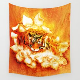 A Relaxed Fire Tiger On Gardenias Wall Tapestry