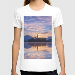 Sunrise colors and reflection at lake Bled and charming little church on the island T-shirt