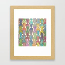 Colorful Watercolor and Gold Pineapple Pattern Framed Art Print
