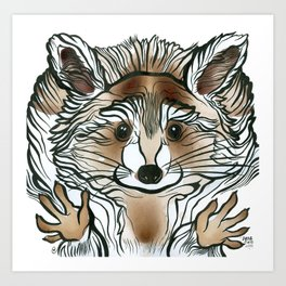 Raccoon Tea Art Print