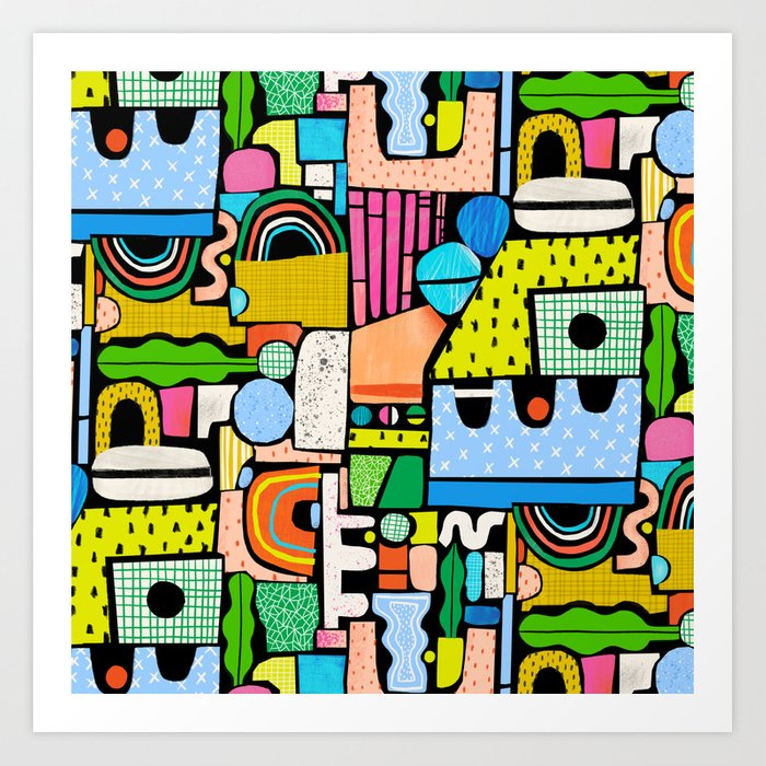 Color Block Collage Art Print