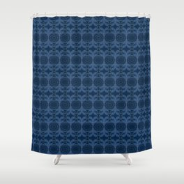 Japanese inspired stitching blue and white Shower Curtain