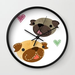 I Heart Pugs Wall Clock