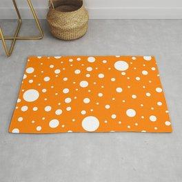 Mixed Polka Dots - White on Orange Rug