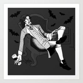 Sherlock - Vampire AU (black & white) Art Print
