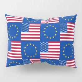 Mix of flag: USA and UE Pillow Sham