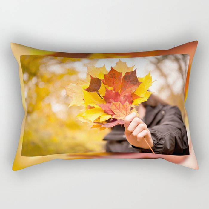 Acer autumn bunch yellow red leaves Rectangular Pillow