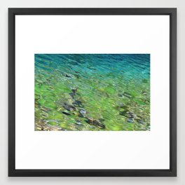 Teal Mountain Water Framed Art Print