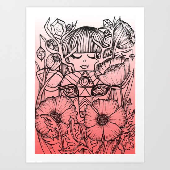 Charmed Life - Deer Girl Poppies - Pink Ombre Art Print