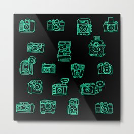 Cameras: Teal - pop art illustration Metal Print