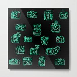 Cameras: Teal - pop art illustration Metal Print