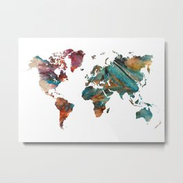 Map of the World triangle Metal Print
