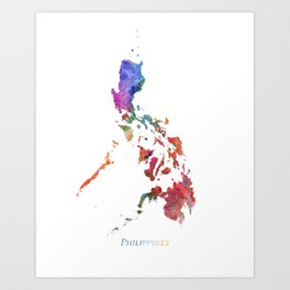 Philippines Watercolor Map Art by Zouzounio Art Art Print