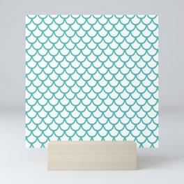 Scales (Teal & White Pattern) Mini Art Print
