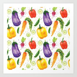 Very Veggie Pattern Art Print