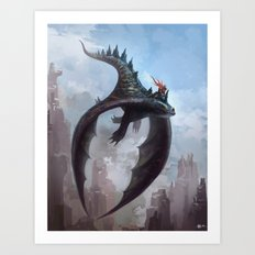 Dragon rider Art Print