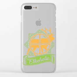Elkoholic Hunting Jungle Hunters Huntress Forest Shooting Deer Fox Duck Gift Clear iPhone Case