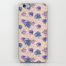 Hydrangeas on Blush with white French script and birds iPhone & iPod Skin