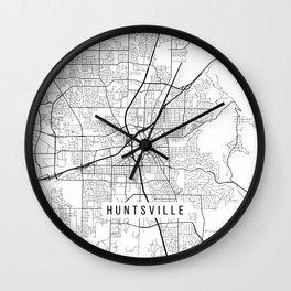 Huntsville Map, USA - Black and White Wall Clock