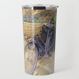 Vintage  bicycle with wicker basket at the street. Travel Mug