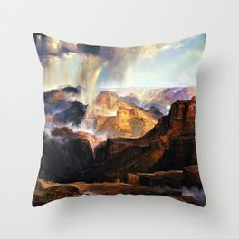 The Chasm of the Colorado, Windswept Rain Storm, Grand Canyon landscape by Thomas Moran Throw Pillow