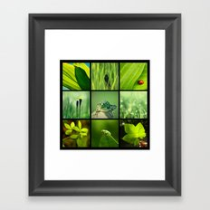 3x3 Green Framed Art Print