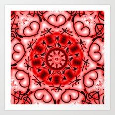Red Heart Valentine Mandala Art Print