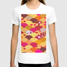 pattern scales simple Nature background with japanese sakura flower, rosy pink Cherry, wave T-shirt
