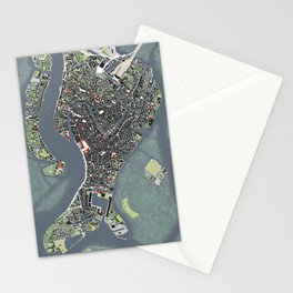 Venice city map engraving Stationery Cards