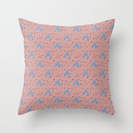 Blue Arrowhead Shape on Pink Throw Pillow