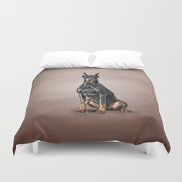Drawing Doberman dog Duvet Cover