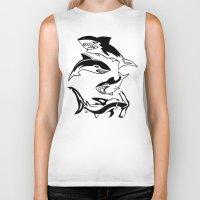 sharks Biker Tanks featuring Sharks by ChrisShirts