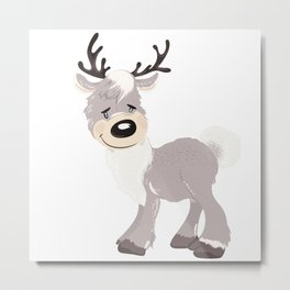 Christmas cute deer. Winter design illustration Metal Print