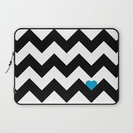 Heart & Chevron - Black/Blue Laptop Sleeve